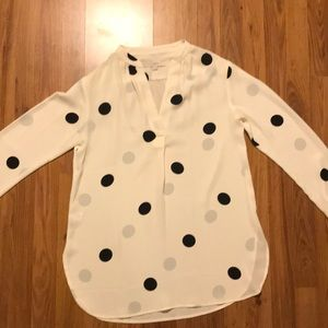 Beautiful polka dot, long sleeve blouse, LOFT